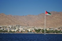 Aqaba flag of the Arab Revolt, visible from Israel, Egypt, and Saudi Arabia